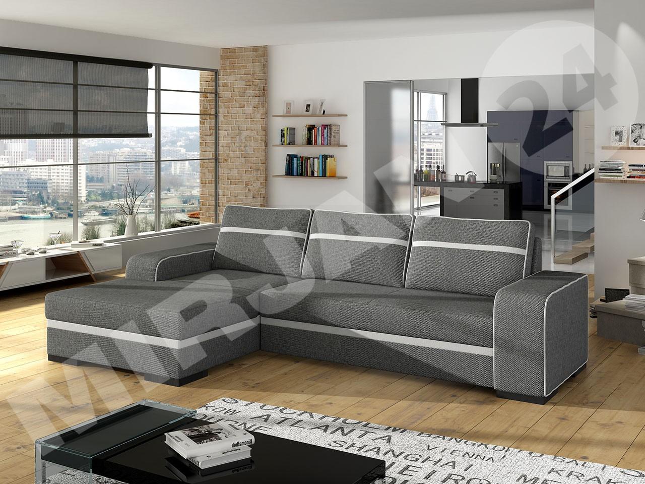 ecksofa sven mit schlaffunktion und bettkasten mirjan24. Black Bedroom Furniture Sets. Home Design Ideas