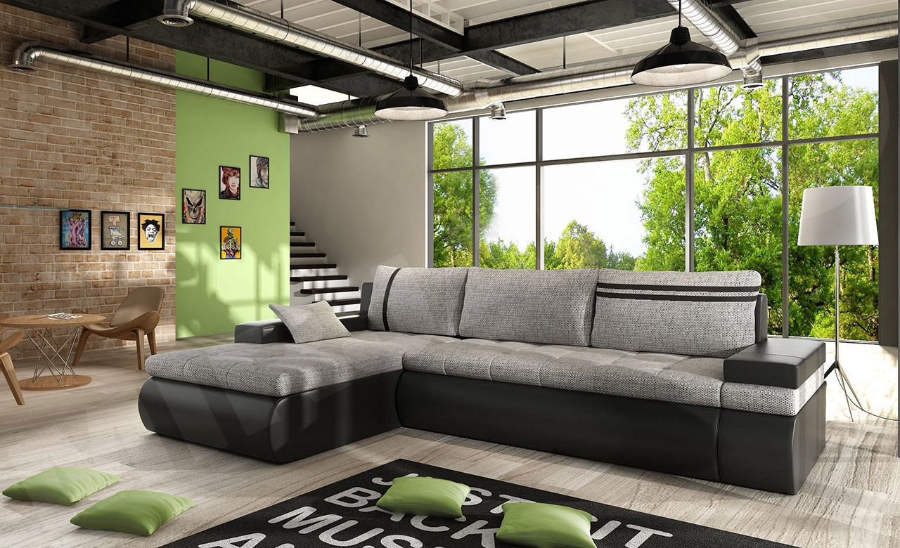 ecksofa sofia mit bettkasten und schlaffunktion mirjan24. Black Bedroom Furniture Sets. Home Design Ideas