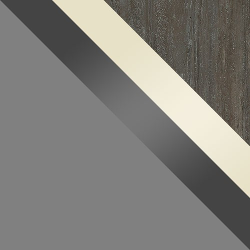 grau / creme Hochglanz + grau Hochglanz / Platte Travertin