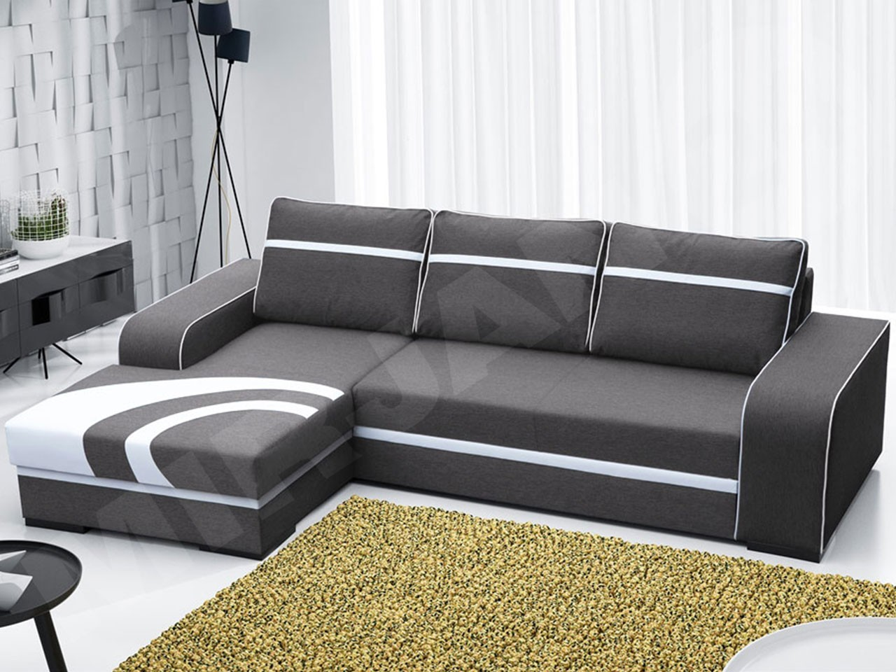 ecksofa reslo mit schlaffunktion und bettkasten mirjan24. Black Bedroom Furniture Sets. Home Design Ideas