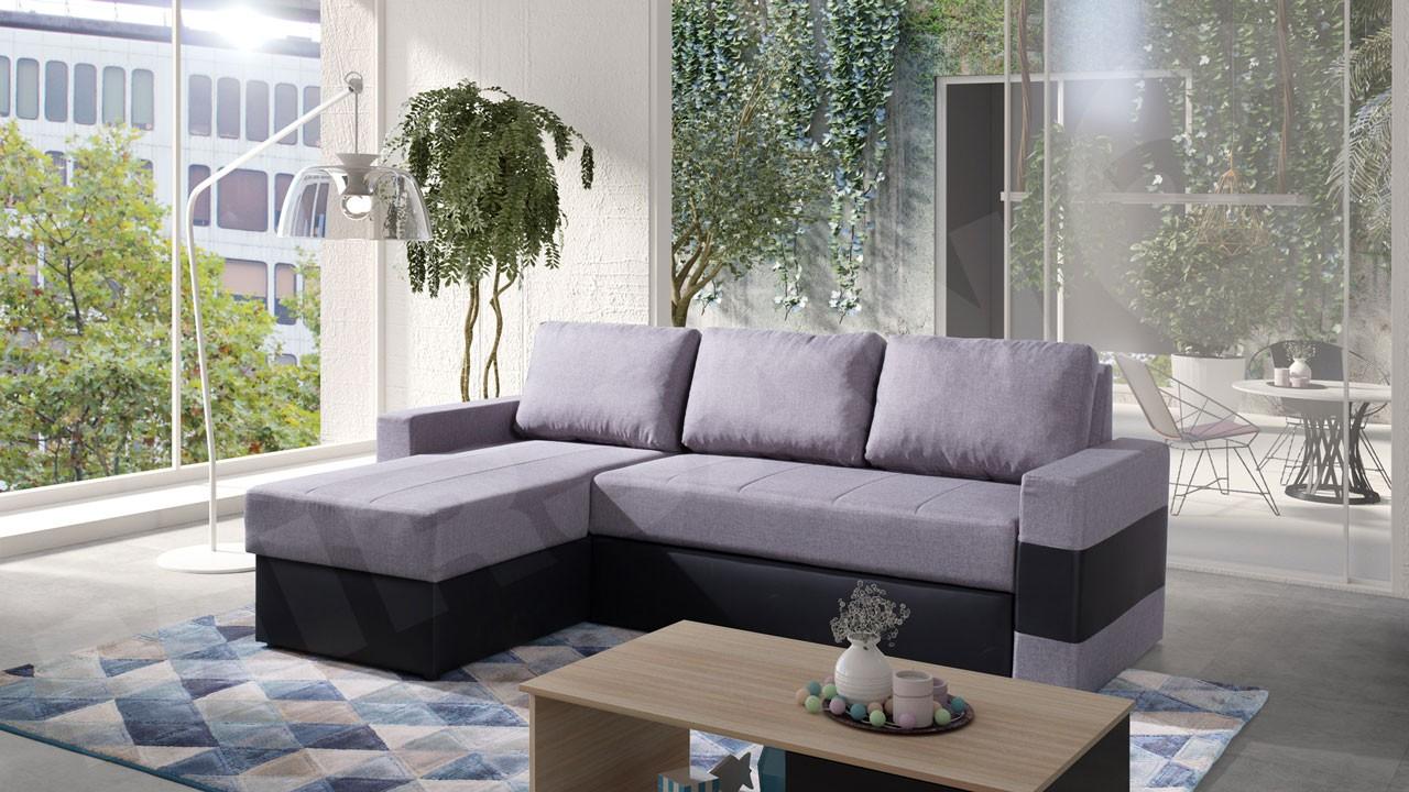 ecksofa deco mit schlaffunktion und bettkasten mirjan24. Black Bedroom Furniture Sets. Home Design Ideas