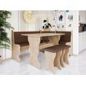 Eckbank + Tisch und zwei Hocker Samot