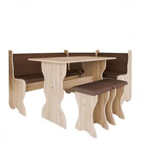 Eckbänk + Tisch und zwei Hocker Samot