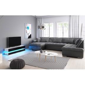Wohnzimmer-Set - Ecksofa Tony Bis + TV-Lowboard Onlow