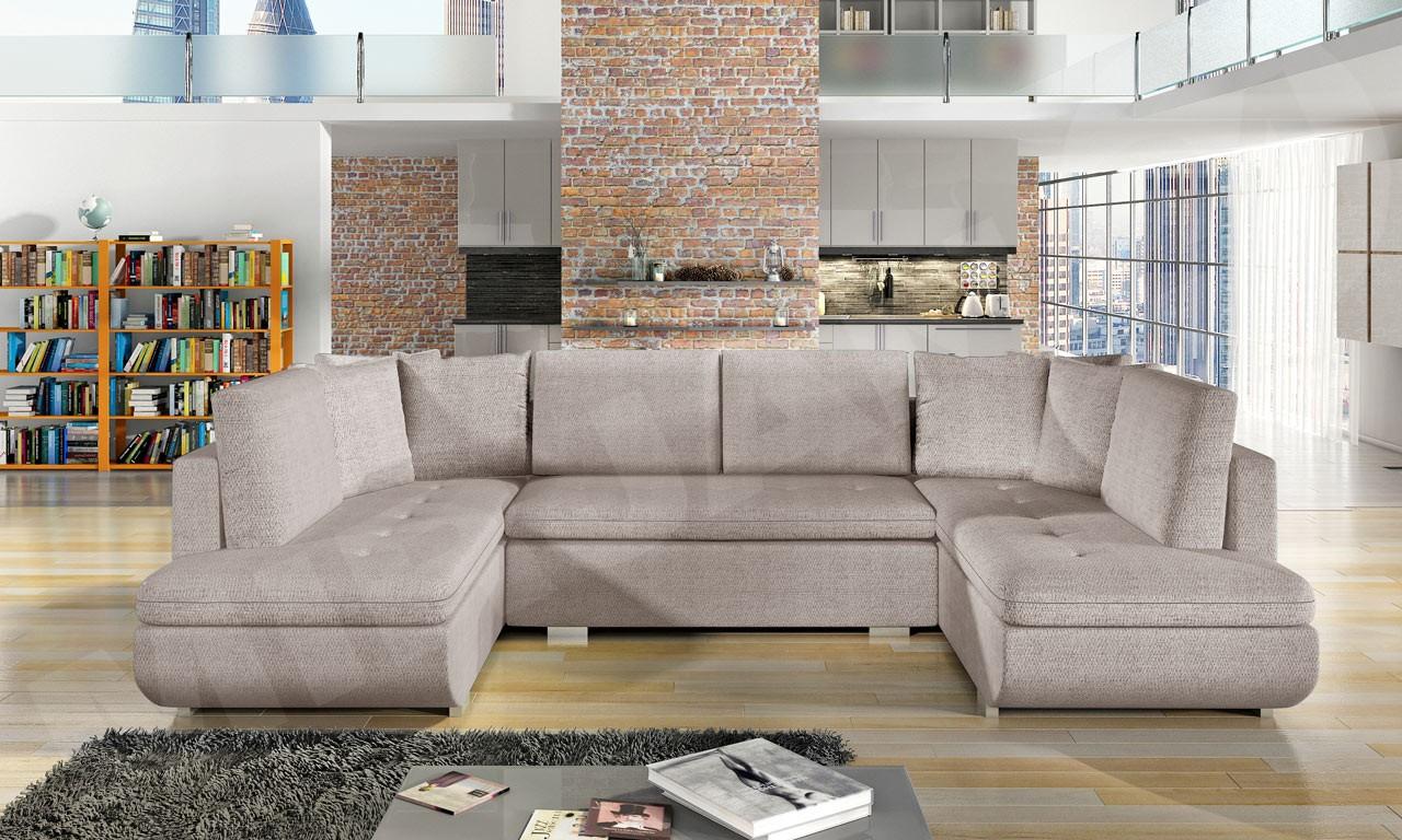 wohnlandschaft mit schlaffunktion und bettkasten notrus u. Black Bedroom Furniture Sets. Home Design Ideas