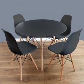 Essgruppe: Tisch Larry Round + 4 Stühle Betty