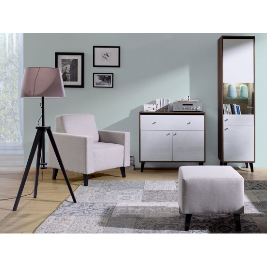 Wohnzimmer-Set mit Polsterhocker Naviedo Gloss III