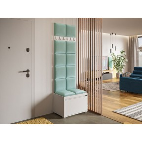Garderoben-Set Konkor 60 (Schuhschrank und Kleiderhakenbrett) + 12 Stück gepolsterte Wandpaneele Pag 30x30