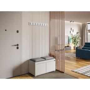 Garderoben-Set Konkor 80 (Schuhschrank und Kleiderhakenbrett) + 2 Stück gepolsterte Sitzpaneele Pag 40x30