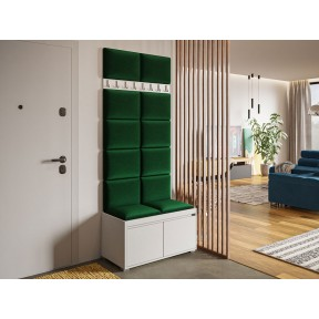 Garderoben-Set Konkor 80 (Schuhschrank und Kleiderhakenbrett) + 12 Stück gepolsterte Wandpaneele Pag 40x30