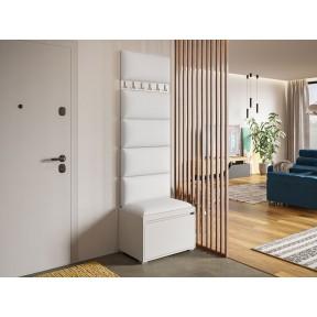 Garderoben-Set Konkor 60 (Schuhschrank und Kleiderhakenbrett) + 6 Stück gepolsterte Wandpaneele Pag 60x30