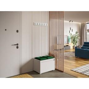 Garderoben-Set Konkor 60 (Schuhschrank und Kleiderhakenbrett) + 2 Stück gepolsterte Sitzpaneele Pag Pik 30x30