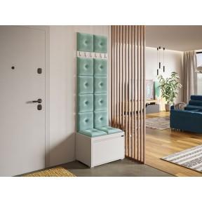 Garderoben-Set Konkor 60 (Schuhschrank und Kleiderhakenbrett) + 12 Stück gepolsterte Wandpaneele Pag Pik 30x30